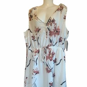 Impress White And Pink Floral Sleeveless Dress